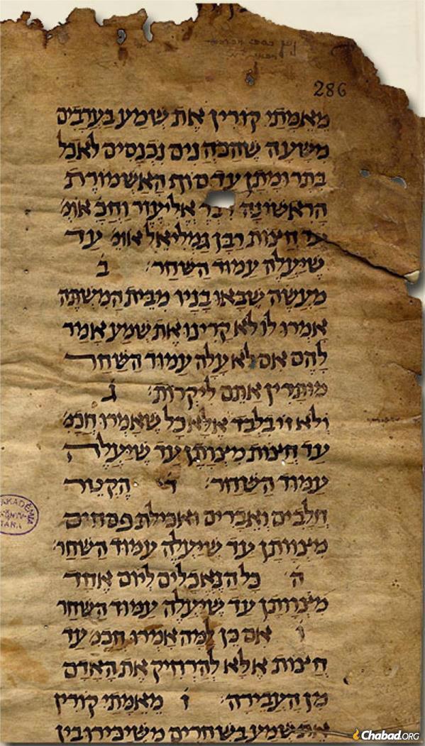 כתב יד של המשנה המתוארך למאה ה-10 או ה-11 לספירת הנוצרים. (מאוסף דוד קאופמן).