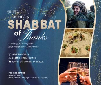Belev Echad Shabbat of Thanks