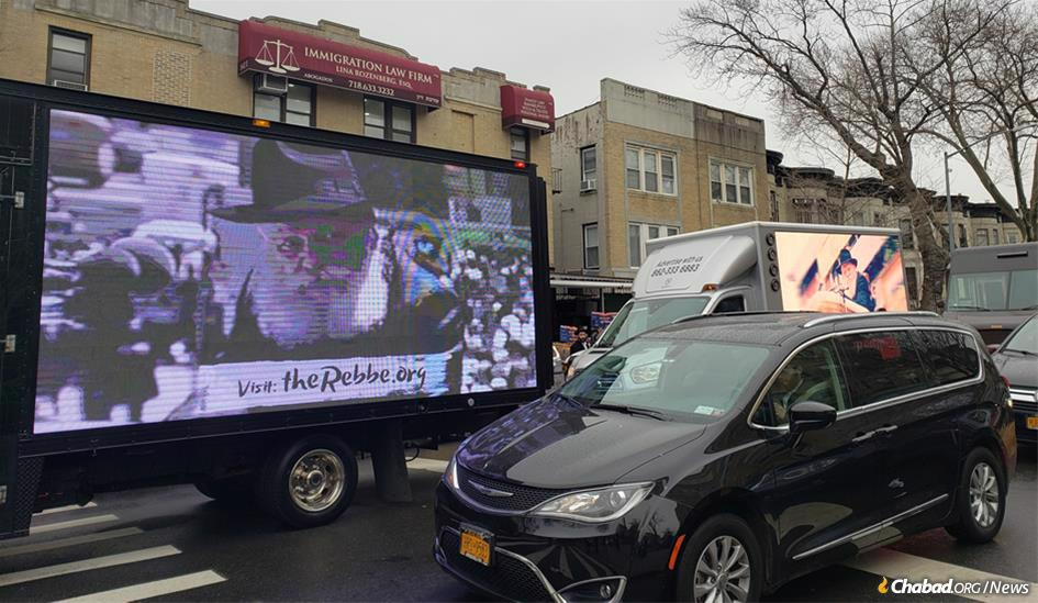 "In New York City, 70 ""mitzvah tanks"" departed from 770 Eastern Parkway, the Chabad movement's Brooklyn, N.Y.-based headquarters, for Manhattan. The vehicles were staffed by an international team of students, from Australia to Russia, with eight languages spoken between them."