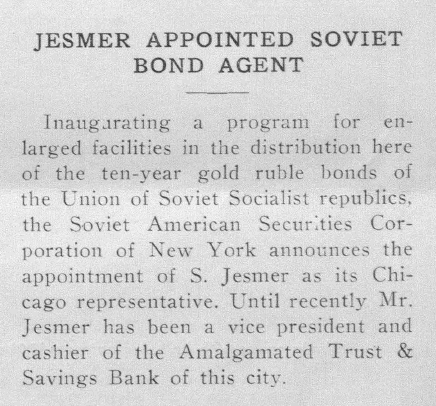 This brief item from the Feb. 10, 1934 Sentinel provides an insight into Jesmer's deep bond with the Soviet Union and its representatives (courtesy of www.nli.org.il).