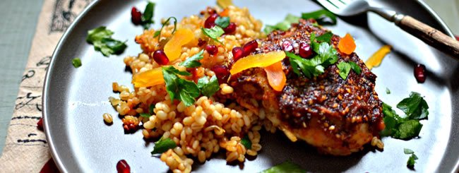 Chicken & Turkey: One-Pan Za'atar Chicken and Barley with Tu B'Shevat Fruits