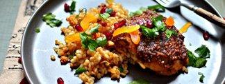 One-Pan Za'atar Chicken and Barley with Tu B'Shevat Fruits