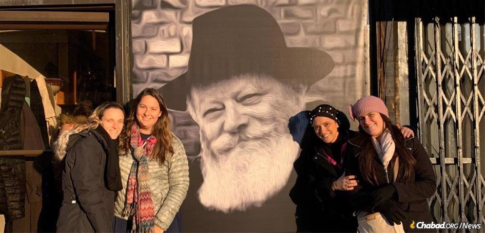 Jessica Mishaan-Abbo of North Miami Beach, Fla., second from left, with other participants in the guest program at the International Conference of Chabad-Lubavitch Women.