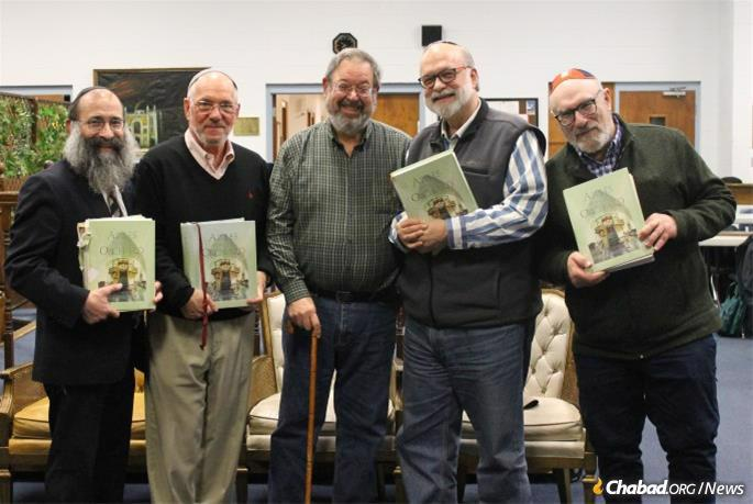 L. to R. Rabbi Chaim Kosofsky, James Smith, Alan Lerman, Rudy Vogel and Guillermo Muhlmann. For six years, the steady core of four students have studied the book every week. They have plans to celebrate a grand siyum—and then immediately start again.