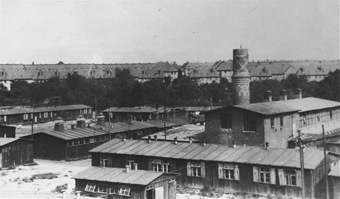 Biesinitzer Grund (Goerlitz) concentration camp, a subcamp of Gross-Rosen, after liberation. Poland, May 1945. (Photo: US Holocaust Memorial Museum, courtesy of Teddy Znamirowski.)