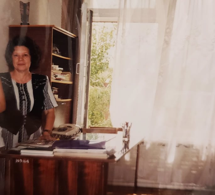 Tatyana Gregorevna, the teacher responsible for the betrayal of my childhood friendships. Picture taken when my husband and I arrived at the school in the summer of 1998 right after she recognized me.