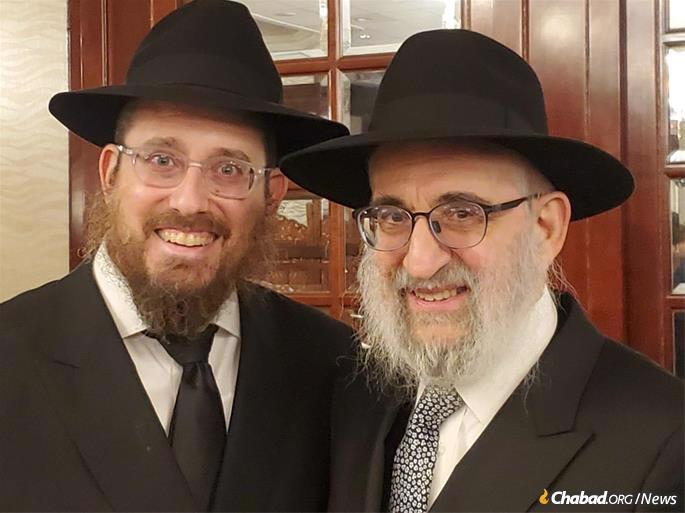 Rabbi Levy with son-in-law, Rabbi Yitzchak Hanoka, the senior rabbinic coordinator of the OK.