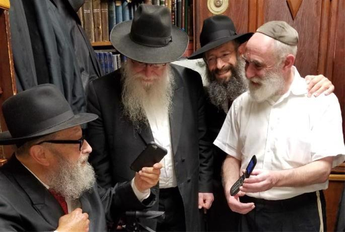 At Lubavitch World Headquarters at 770 Eastern Parkway with Rabbis Chaim B. Halberstam and Yonasan Hackner, who worked the phone lines on the New York end to bring the Rebbe's talks to communities all over the world, including the live hookup in the Kosofsky home.