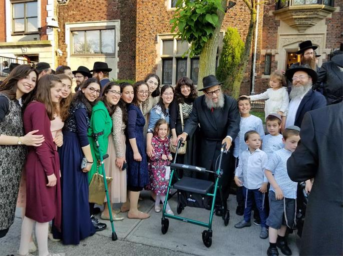 Outside Lubavitch World Headquarters at a family wedding.
