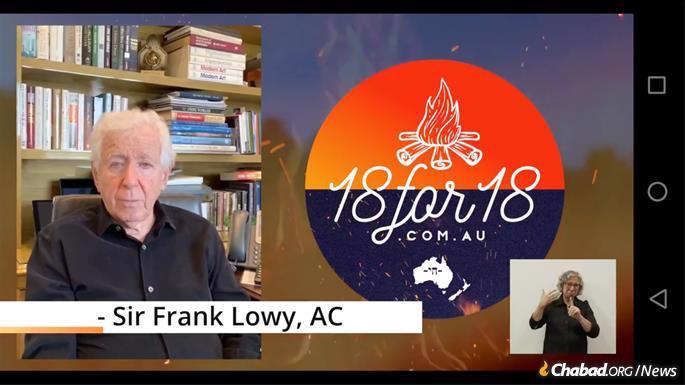 Philanthropist Sir Frank Lowy spoke from Israel.