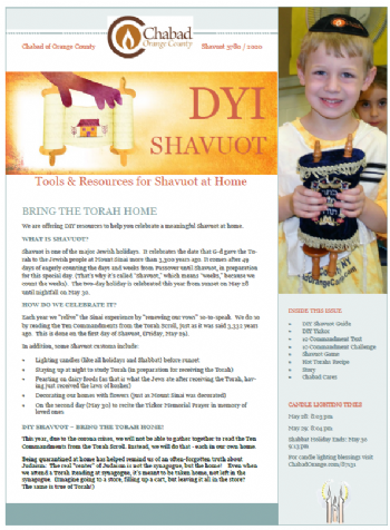 Shavuot Guide & Newsletter to print