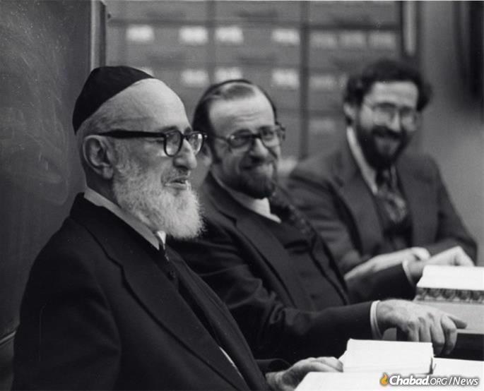 Rabbi Lamm, center, sits beside Rabbi Joseph B. Soloveitchik (left), in 1977.