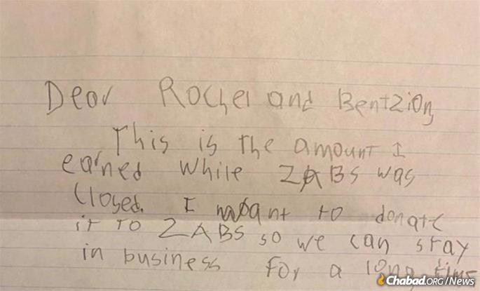 """""""Never did we expect a letter like this,"""" wrote Rabbi Groner. """"We're speechless. We always believe that individuals like Jonathan would lead the way to making this world a better place. Seeing it on a daily basis is truly a blessing."""""""