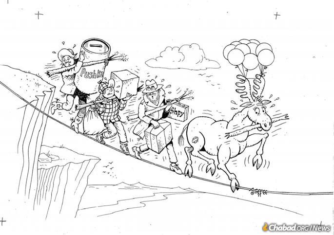 Charity and good humor were a staple of Jaffe's illustrations in the Mosiach Times. (Credit: Al Jaffee/Tzivos Hashem)