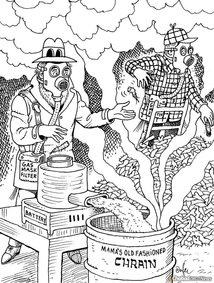 When masks were suggested for making horseradish for the Passover Seder. (Credit: Al Jaffee/Tzivos Hashem)