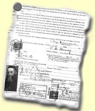 The Rebbe's immigration papers.