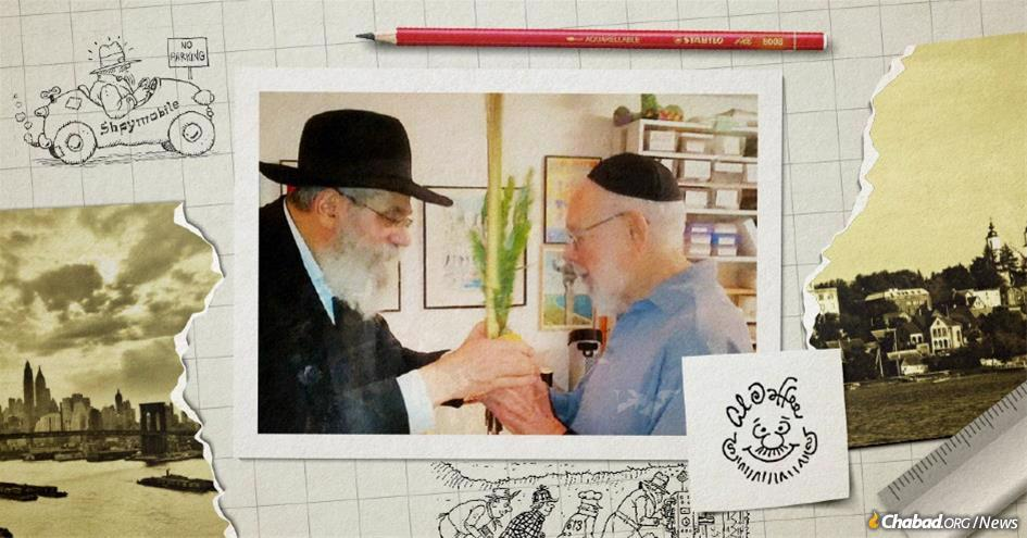 """Cartoonist and illustrator Al Jaffee with his editor at the """"Moshiach Times,"""" Dr. Dovid Sholom Pape (Collage: Rivka Korf)"""