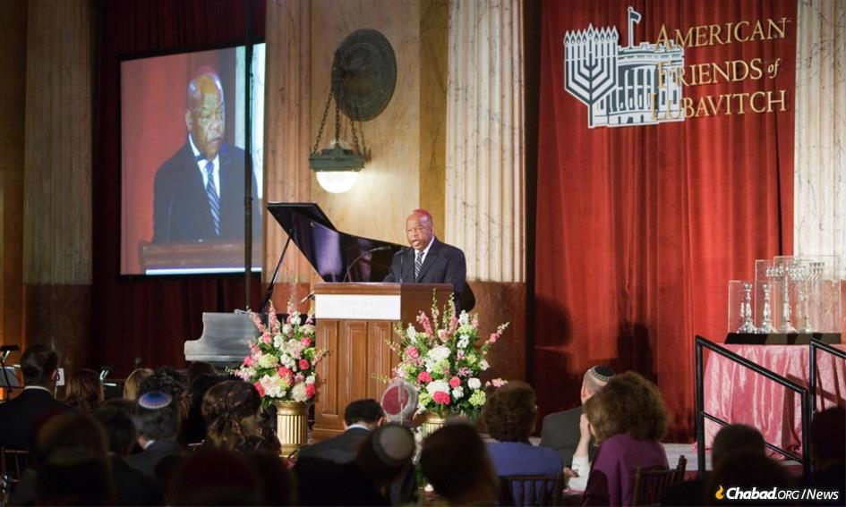 Congressman John Lewis addresses a gathering at American Friends of Lubavitch (Chabad) in Washington, D.C.