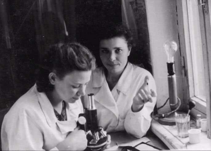 My grandmother (at the microscope) as a young doctor in the Soviet Union.