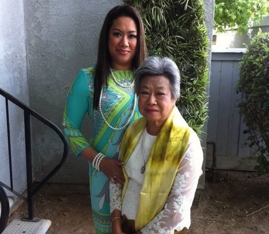 Susie with her mother, HRH Sisowath Neary Bong-Nga, in Fresno, California.