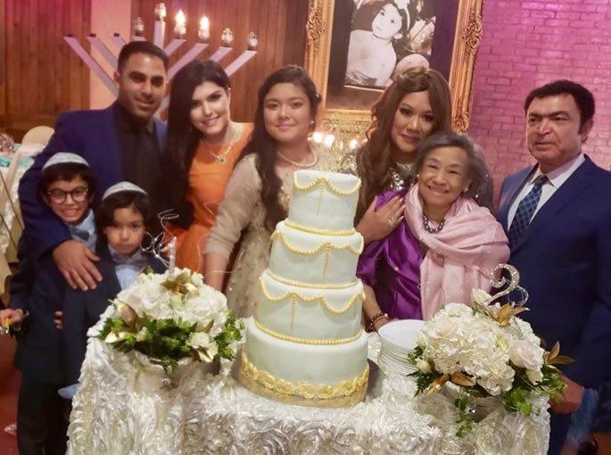 Elior's (Susie's daughter) Bat Mitzvah at home in Las Vegas, September 2018. (L to R) Matanel, Eliav, Shawn, Elizabeth, Elior, Susie, HRH Sisowath Neary Bong-Nga & Ray.