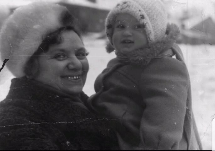 My grandmother and I during the cold winters in Saratov.