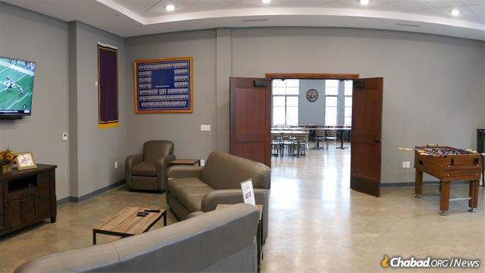 The center also has ample space for study, socializing and relaxation, such as this rec. room.