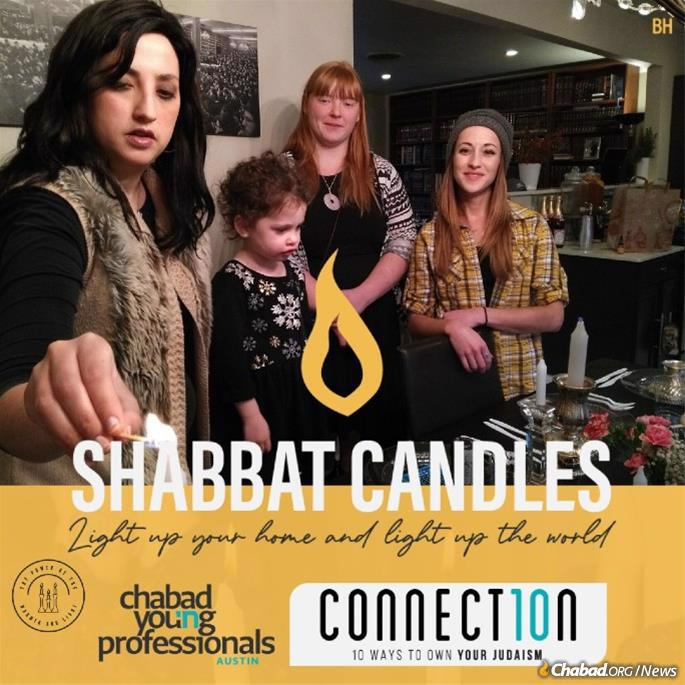 Connect10n poster in Austin, Texas, encourages Jewish women and girls to light Shabbat candles.
