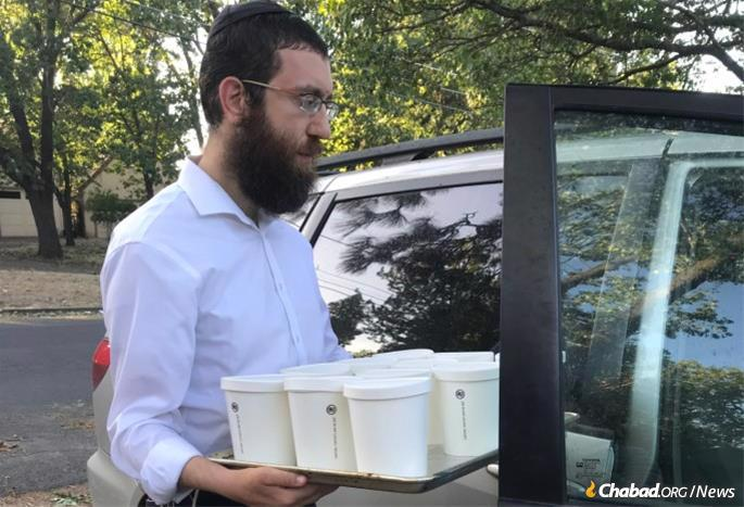 Rabbi Zweibel on his way to a local shelter.