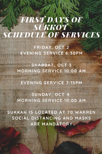 Last days of Sukkot & Simchat Torah Services