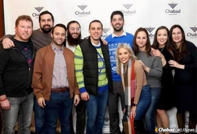 Stephanie Blitshtein, second from right, in a photo taken last year with Chabad Young Professionals in Plano, Texas.