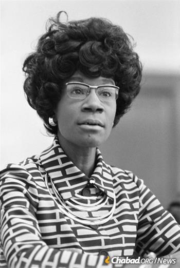When Shirley Chisholm was elected to represent parts of Brooklyn that included Crown Heights, she became the first African-American woman to enter Congress. She would early on receive an important piece of advice during a meeting with one of her constituents, the Rebbe. (Credit: Thomas J. O'Halloran, U.S. News & World Report via Wikimedia Commons)