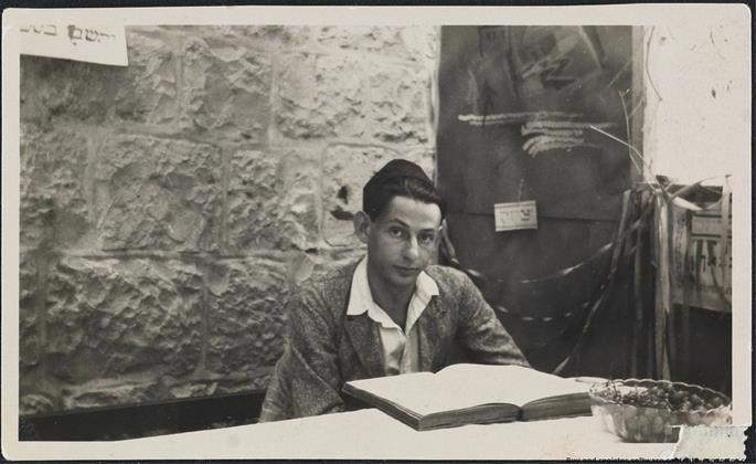 Gershom Scholem studying Zohar in a sukkah, Israel, 1925.
