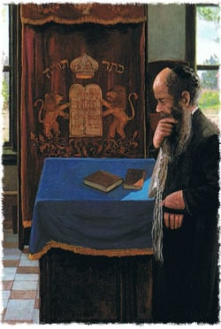 Detail from a painting by chassidic artist Zalman Kleinman
