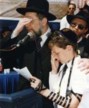Chief Rabbi of Israel Rabbi Israel Meir Lau says the Shema with the Bar Mitzvah boys