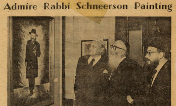 Jacques Lifschitz admire une peinture du Rabbi à une exposition d'art 'hassidique au Michigan (The Detroit Jewish News)