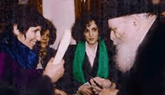 Dr. Susan Handelman (left) with the Rebbe in 1992.