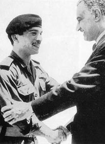 Egyptian president, Gamal Abdel Nasser with King Hussein Ibin Talal of Jordan on the eve of the Six Day War.