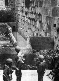 Israeli forces looking at the Western Wall just before it was secured by the IDF.