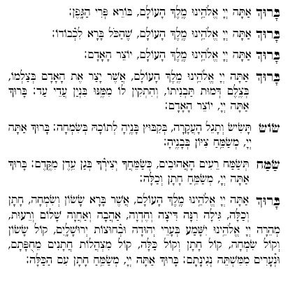 photograph about Birkat Hamazon Text Printable identified as Words of Sheva Brachot - Romance