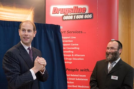 Britain's Prince Edward thanks Chabad-Lubavitch's Drugsline staff for allowing him ''to hear first hand what you have been doing at Drugsline'' during the inauguration of a new center.