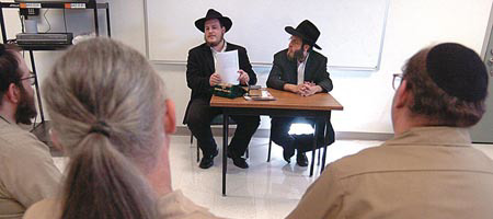 Chabad-Lubavitch rabbinical students lead a class for Jewish prisoners at Stafford Creek Correctional Center in Aberdeen, Wash. Photo: The Daily World/Kathy Quigg