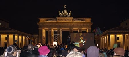 Hundreds join Chabad-Lubavitch at the Bradenton Gate in Berlin, Germany, for a menorah lighting.