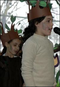 Children perform in a Tu B'Shevat drama at the Chabad-Lubavitch center in Berlin.
