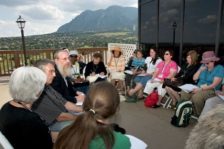 A class in the shadow of the Colorado mountains, where some 300 are participating in the National Jewish Retreat, a project of the Rohr Jewish Learning Institute. Photos: Menachem Serraf