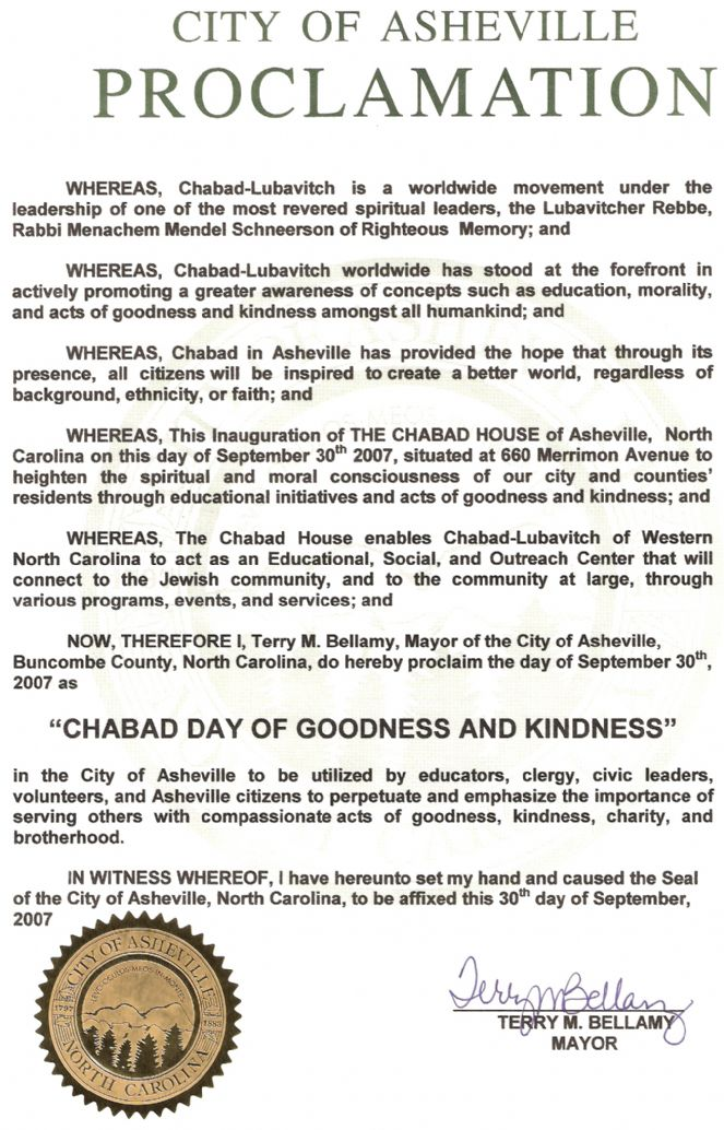 City of Asheville Proclamation, September 30, 2007 - Chabad