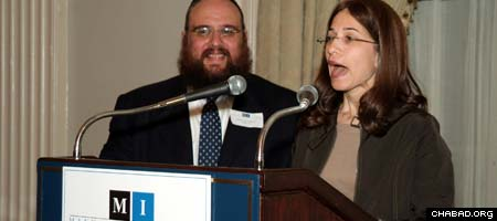 Rabbi Levi and Bassie Shemtov address the Manhattan Institute upon accepting its Award for Social Entreprenurship. (Photos: Paul Schneck)