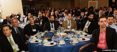 Lay leaders from Chabad Houses across the world gather at a New York hotel for a session in conjunction with last week's International Conference of Chabad-Lubavitch Emissaries. (Photos: Israel Bardugo)