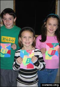 Children show off their Chanukah pride at Chabad-Lubavitch of the Poconos.