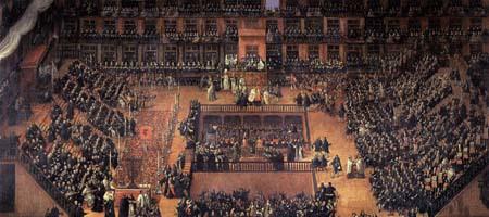 """ציור של פרנסיסו ריקי: טקס ה""""אוטו-דה-פה"""" במדריד 1683."""